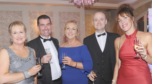Lorraine O'Malley (left), Knockbridge, with Joe and Sunnibha Corcoran, Blackrock, along with Paddy and Louise Eccles, Dublin Road at the Louth Business Awards in The Carrickdale Hotel