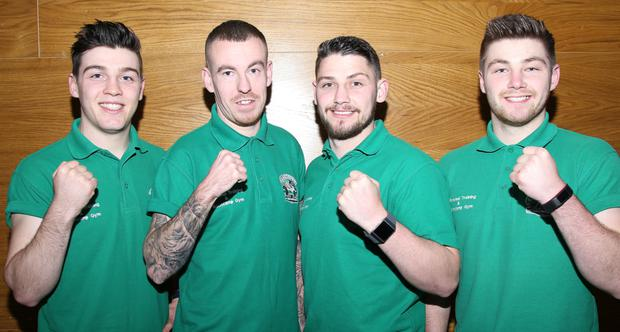 Brandon Mulligan, Gerard Ronan, Stephen Mulligan and Chris Mulligan at the White Collar Boxing event in aid of Clann Naofa Boxing Club held in the Carnbeg Hotel.