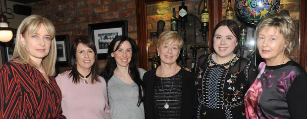 Rosemary Fee, Martina O'Reilly, Elma Martin, Ann McKey, Nicola Quinn and Ann Frawley at the retirement function for Ann held in Kennedy's Bar