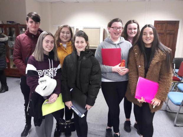 Members of the Cuchulainn Singers at rehearsals for their big production at the Spirit Store.