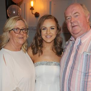 Lorraine, Hanna and John Gorham at Hanna's 21st birthday in Byrne's of No. 10, Hill Street
