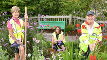 All smiles in the garden with Louisa Cuthbert, Emily Magee and Nora Wogan. Pictures Ken Finegan/Newspics