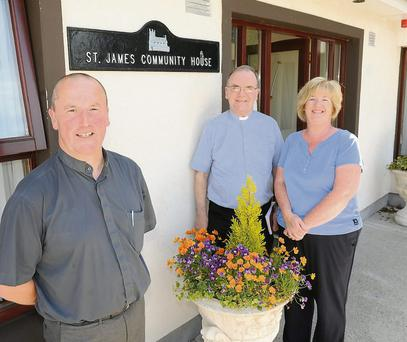 Fr Padraig Keenan and Fr Tommy McNulty with Olive Joyce at the official opening of The Birches at Rath Abbey in Grange.