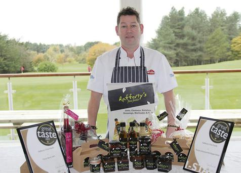 Declan Rafferty with his two Gold standard ratings for his home-made products.