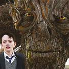 Lewis MacDougall as Conor with the creature (voiced by Liam Neeson) in A Monster Calls.