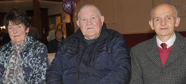 Rita and Patsy Dullaghan, Ashbrook, with Joe McNally, Beechmount Drive at Elizabeth Dullaghan's 90th birthday party in the Clan na Gael GFC community centre