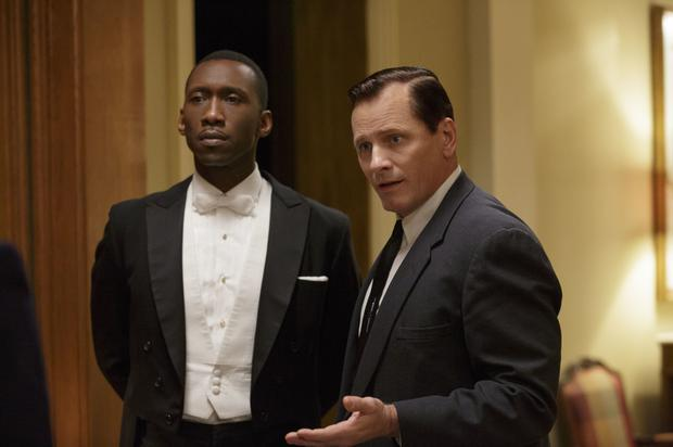 Mahershala Ali as Don Shirley and Viggo Mortensen as Frank Vallelonga in Green Book