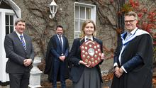 Emma Graham, winner of the Primate's Award for Music receives her award from Jonathan Graham, Principal, Enda Murphy, Deputy Principal and Graeme Treadwell, Chairman of the Board of Governors at the Dundalk Grammar School's Annual Prize Giving Ceremony. Picture Ken Finegan/Newspics