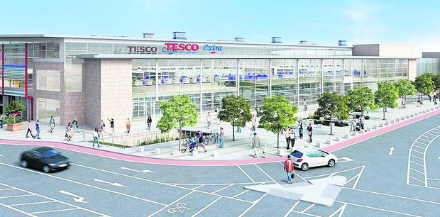 An artist's impression of how the new Tesco store will look when built of the site of the Dundalk Shopping Centre.