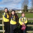 Grainne Lynch, Grainne Cumiskey and Aisling Quigley Kilkerley Brownies and Ladybirds leaving school in their uniforms to celebrate the Irish Girl Guides Awareness Day which is held on Thinking Day each year