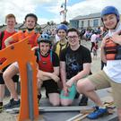 Members of the Clermont team Alex Cahill, Conor Capplis, Sam McSherry, Julie Kelly, Dillon Rodgers and Aaron Collier at the Blackrock Raft Race. Picture: Ken Finegan