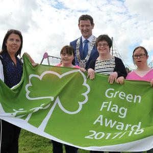 Cllr. Colm Markey, Chairman of Louth County Council, with Gabrielle Renaghan, Jackie Hamill, Mairead O'Hare, Donna Crilly and Kelly Delaney, St. Mary's Drumcar at the An Taisce Green Flag for public spaces award ceremony in Blackrock Community Park