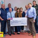 At the cheque presentation, Micheal McCoy, Shane McConnon, Annie Haughey,Breege Conlon, Ciaran Maloney and Brian McEvoy from Pieta House. Front from left: Micheal Hughes, Caroline Matthews and Pat McKeown. Missing committee members: Peter Mullen, Vinny McCoy and Trudi McGuinness