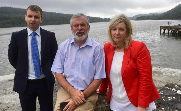 Gerry Adams TD with Cllrs Ruairi O Murhcu and Anne Campebell at the opening of Victoria Lock phase of the Carlingford Lough Greenway
