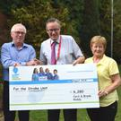 Cyril Roddy from Bellurgan Point suffered a stroke last January and was admitted to Beaumont Hospital for treatment. Cyril has made a full recovery and recently celebrated his 40th wedding anniversary. Cyril and Breda asked for donations to be made to the Stroke Unit in lieu of gifts, raising a fantastic €6,280. They are pictured here with Prof David Williams and Stroke Clinical Nurse Specialist Julie Lynch.