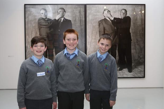 Christopher Conway, Glen Hoey and Cathal Maguire during the Kilkerley National School 6th class students visit to Highlanes Gallery and tour with Artist Claire Halpin. Photo by Jenny Matthews