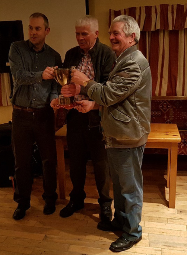 Naomh Malachi Special recognition award 2018 - Ronan McElroy and Joe Fee , receiving the Keith Rogers memorial cup - presented by Martin Rogers.