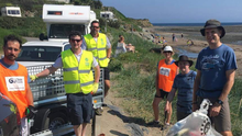 Volunteers at the end of the clean up of Templetown beach by the Cooley Peninsula Community Alert and Marine Litter Project