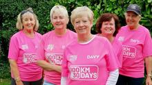 Geraldine Rogers (back right) with fellow walkers Anne Rogers,  Maria Dullaghan and Rita Doyle, and Betty Rogers (front)