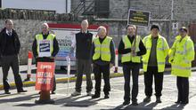 Members of Bus Eireann out on strike at the Bus depot on the Ardee road