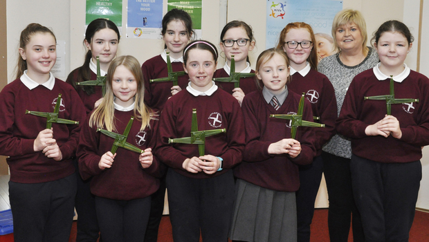 Carrie Craig Hay, Zoe Dowdall, Lisa Marie Casey, Isabella Houssaye, Leah Reilly, Briege Casey, Faye Ward (Back row): Aoibheann Reilly, Zoe Tracey and Niamh Laurance with their crosses