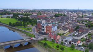 An aerial photo of Dundalk looking from the Castletown Bridge into St Nicholas' Quarter. Picture Ken Finegan / Newspics