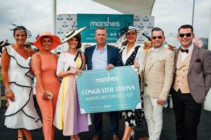Best Dressed Lady at the recent Marshes Race Day at Dundalk Stadium was Terri Sands who is presented with her prize by Sean Farrell, Marshes Shopping Centre Manager. Also pictured are the Best Dressed Lady finalists and the competition judges