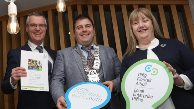 Launching Local Enterprise Week Louth 2020 were Thomas McEvoy, Local Enterprise Office, Riona McCoy, Local Enterprise Office and Cathaoirleach of Louth County Council Cllr Liam Reilly