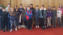 The group of students from Coláiste Chú Chulainn at the Skainos Centre in Belfast back in February