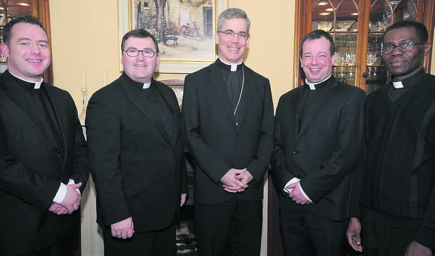 Papal Nuncio Archbishop Charles Brown (Centre) with Fr. Gareth Campbell (Left), Fr. Paddy Rushe, Fr. Mark O'Hagan, ADM and Fr. Magnus Ogbonna during the Papal Nuncio's visit to Dundalk.