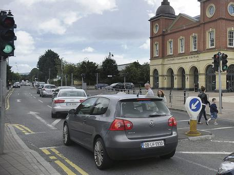 The traffic lights at the Marshes shopping centre.
