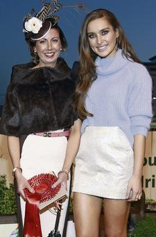 Orla Finnegan from Bellurgan with Roz Purcell, who was the judge in the 'Best Dressed' competition at the ETS Irish Greyhound Derby in Shelbourne Park on Saturday.