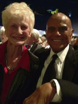 Joan Brady meeting American singer and human rights activist Harry Belafonte in the Mansion House in Dublin.