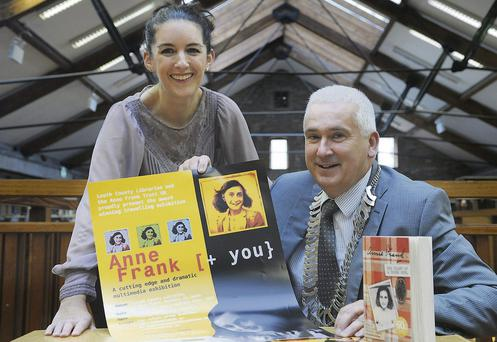 Amanda Branigan and Chairman of Louth County Council Declan Breathnach at the launch of 'Anne Frank + You' at Dundalk Library.
