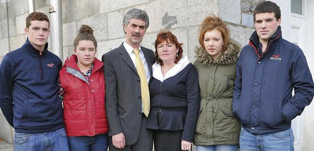 The family of the late Terry Brennan outside Dundalk Circuit Court last week (from left): brother Niall, sister Sarah, dad John, mum Frances, sister Grace and brother Tony Brennan.