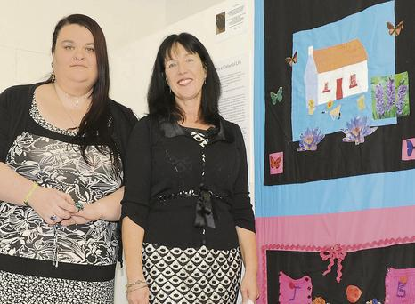 Janine Barnacle-Jamil and Patricia Murphy at the Traveller Stories Through Craft project exhibition in Creative Spark.