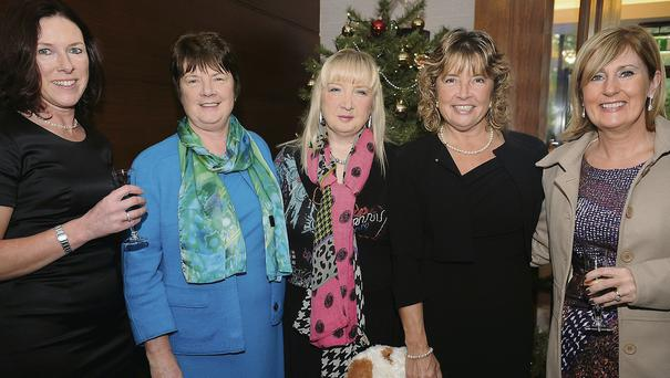 Sheila Sweeney, Ann Murphy, Maria Calder, Tish McGowan and Crea McCormack at the ladies lunch and fashion show in aid of the Simon Community which took place in the Ballymascanlon Hotel. PIcture: Ken Finegan