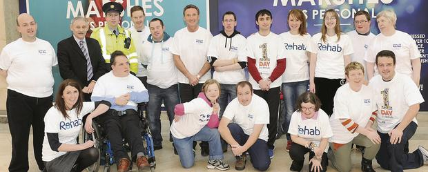 Peter Fitzpatrick TD, Garda Paul Bourke, Rory Johnston from The Argus and Harry Traynor, Manager of the Marshes Shopping Centre, were joined by a group from Rehab Dundalk to help them officially launch the Fitzers 5K Fun Run – which takes place on February 22 – in the Marshes Shopping Centre.
