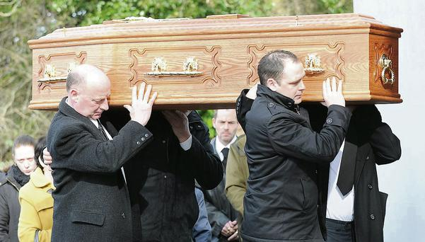 The funeral of Laurence 'Michael' McGeown, who died following an assault in Fagan's Pub, taking place in Ravensdale on Monday morning.