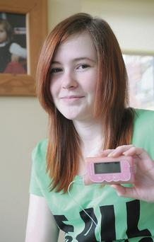 Casey-Jayne Kearney with her insulin pump.