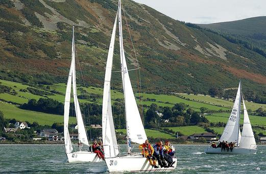 Local boats competing during the Autumn Cup for J24's held in Carlingford Lough which is the last qualifier for the Republic of Ireland team which will take part in the World Championships in England next year.