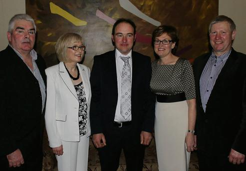 Gerard Melia, County Vice Chairman, Riona Meehan, County Secretary, Mathew McGreehan, County Chairman, and MEP Mairead McGuinness, Bert Stewart, Regional Chairman of the IFA at the social night in the Fairways Hotel.