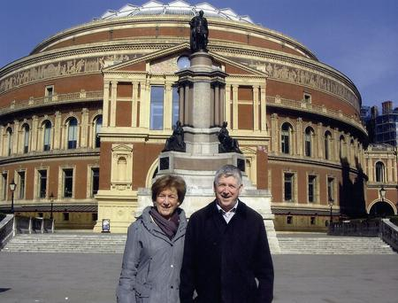 Hugh Sheridan outside the Albert Hall where he performed with the Corduff Pipe Band in 1974.