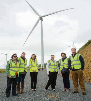 Teachers from around the country recently attended a KidWind Ireland Course, sponsored by Energia, to learn more about wind energy and renewables. Pictured at Energia's Hollyford wind farm are: Sandra Keating from Mount Sackville Secondary School, Dublin; Roisin Ni Bhriain from Colaiste an Eachréidh, Galway; Patricia Kelly from Energia; Lisa Darley from Loreto Secondary Navan; Jacinta Burke from Ratoath College, Co. Meath and; Paul MacArtain from Dundalk IT