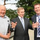 Tom McArdle,Taoiseach Enda Kenny and Thomas McArdle at the official opening of Skypark in Carlingford
