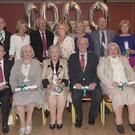 Members of the Laverty family pictured at Francis Laverty's 80th Birthday Party held in the Lisdoo. Included are (Front L-R) Abthony, Una, Cecilia, Francis, Briege and Bernadette. (Back L-R) Michael, Mary, Bernard, Eileen (absent from picture due to illness and inserted via Photoshop at the family's request), Concepta, Peter, Veronica and Vincent. Photo: Ken Finegan