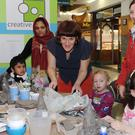 Sophie Coyle leads the ceramic demonstration for Creative Spark in the Longwalk Shopping Centre