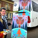 Matthews.ie Arts Showcase initiative winner, artist Orla Barry, with Matthews.ie Managing Director and the original of her painting Meet Me Halfway, which will featured on the back of a Matthews.ie coach from this week. Picture: Andy Spearman