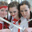 Pirates Amy Foster, Carla Stapleton and Aoife Marry, Class 1 Deirdre at the Fashionably Talented show by students at St. Vincent's and held in DkIT. Photo: Ken Finegan
