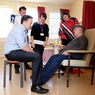 Minister for Health, Leo Varadkar, Ian Carter, CEO RCSI Hospitals Group, Yvonne Burke, Assistant Director of Nurses Drogheda, Louise O'Hare, Hospital Manager and Michael Connolly, patient. Varadkar, (behind) Louise O'Hare, Hospital Manager